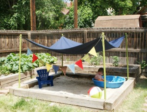 shady pool and sand pit